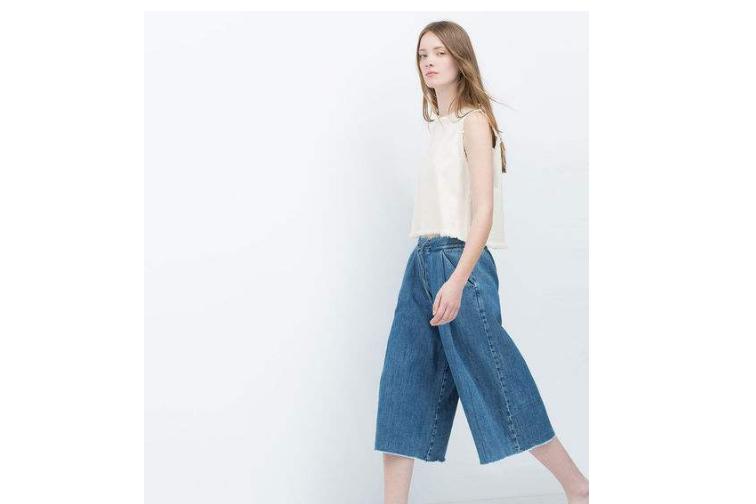 牛仔阔腿裤搭配什么上衣?zara牛仔阔腿裤怎么搭?-1